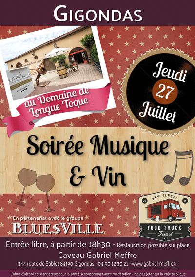 Flyer soirée musique et vin du 27 juillet 2017